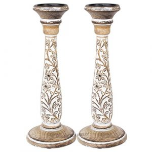 2 x 40cm White Washed Carved Floral Pillar Candle Stick Holders 0
