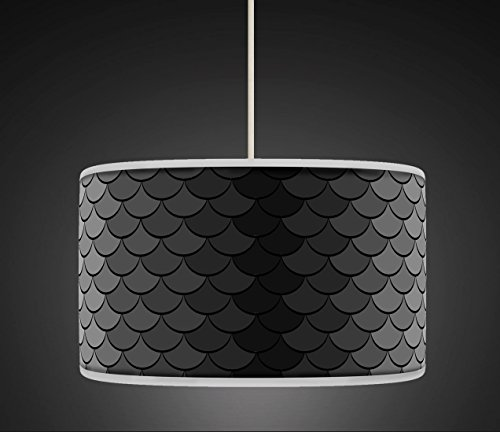 50cm 20 Black Grey Retro Geometric Handmade Giclee Style Printed Fabric Lamp Drum Lampshade Floor or Ceiling Pendant Light Shade 459 0