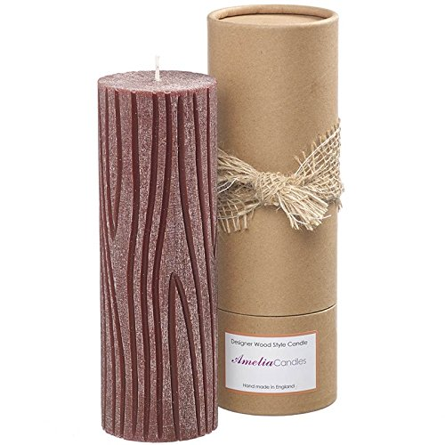 Amelia Hand Carved Pillar Wood Candle with Scent of Cinnamon Bark and Fresh Orange 0