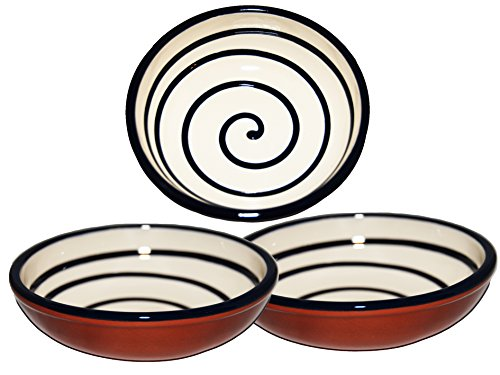 Handmade Round Ceramic Tapas Serving Bowl x 3 Spiral White 0