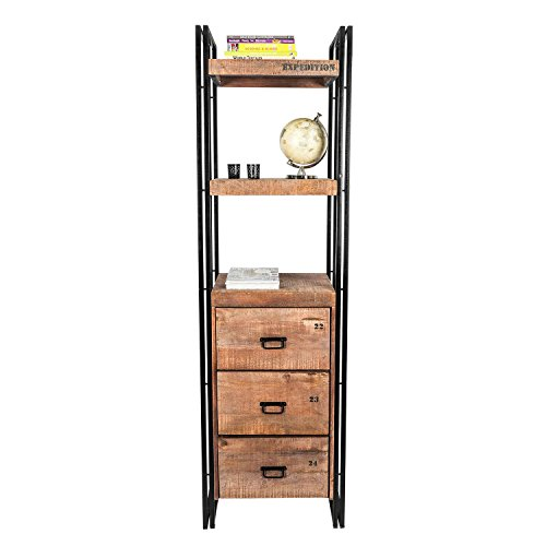 Homescapes Columbus Tall Bookcase 210cm Display Unit with Drawers Industrial Reclaimed Wood Furniture 0 0