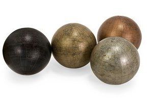 IMAX 5550 4 Metallic Finish 5 Inch Globe Spheres with Map Set of 4 0