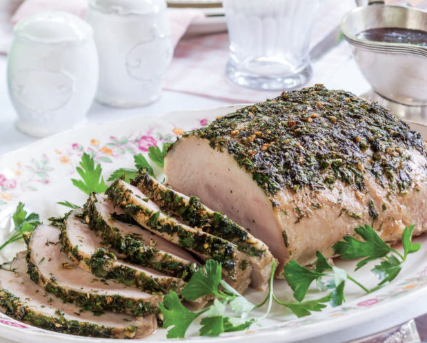Pork in herbs with balsamic sauce