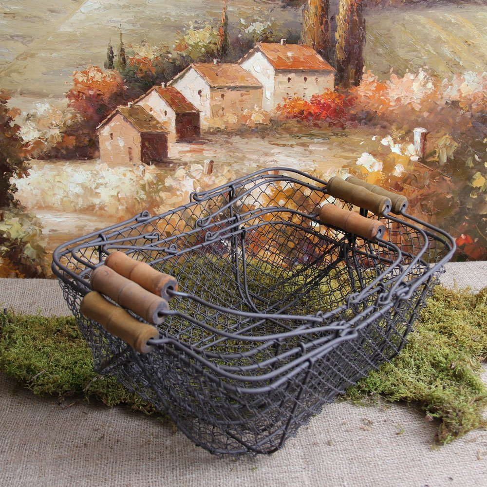 Set of Three Shabby Cottage Chic Wire Baskets