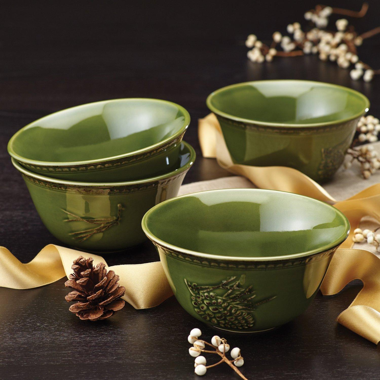 Sierra Pine Stoneware Cereal Bowl Set of 4