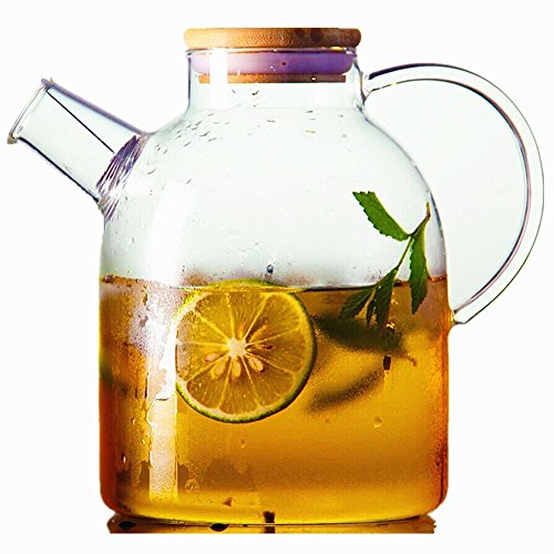 Tealyra 60 floz Glass Water Pitcher Kettle w Bamboo Lid and Filter Large Capacity Water Pot Glass Teapot Iced Tea Pitcher Water Carafe Stove top Safe 0 0