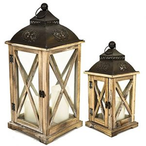 east2eden Set of 2 Wooden Wood Rustic Vintage Retro Candle Tealight Holder Lantern Brown Square Stars 0